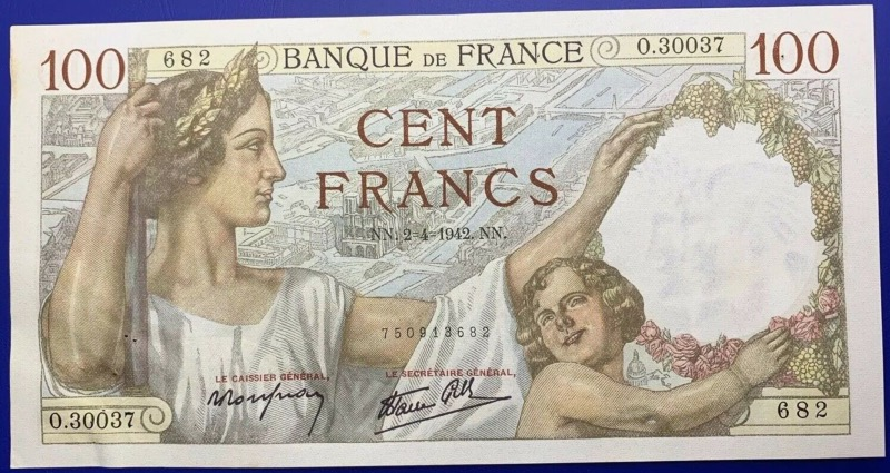 Billet France, 100 Francs Sully, 2-4-1942, Suite 2 Billets