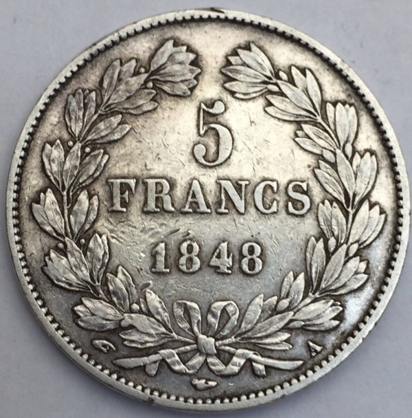 Louis Philippe I 5 francs 1848 A