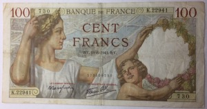 billet 100 francs Sully 19-6-1941