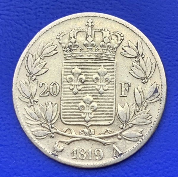 20 Francs or Louis XVIII Buste Nu 1819 A