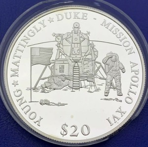 Liberia 20 dollars Mission Apollo XIIII année 2000 argent
