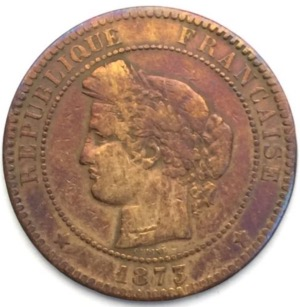 Ceres 10 centimes 1873 K