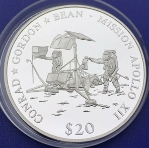 Liberia 20 dollars Mission Apollo XII année 2000 argent