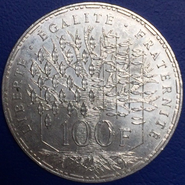 Piece 100 francs Pantheon 1984