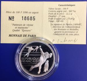 100 Francs JO Albertville 1992 Patinage Monnaie de Paris