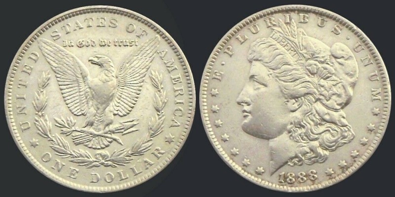 Etats-Unis, One Dollar Morgan, 1888, Philadelphie argent