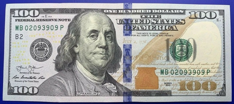 Etats-Unis, USA, New York, Billet 100 dollars 2013