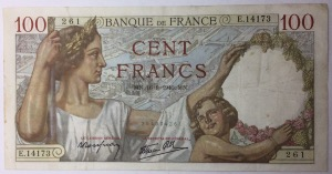 billet 100 francs Sully 16-8-1940