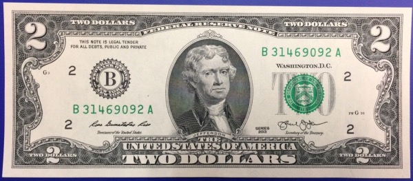 2 dollars 2003 Etats-Unis billet neuf collection G CHICAGO