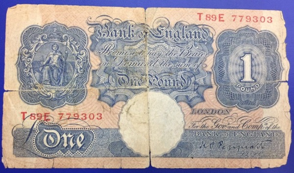 Billet 1 Pound Bank of England 1940 Peppiat