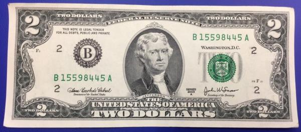 Etats-Unis, Billet 2 dollars, 2003, New York