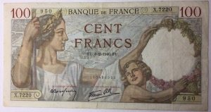 billet 100 francs Sully 8-2-1940