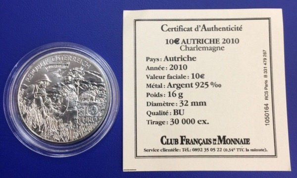 Autriche 10 euros 2010 Charlemagne
