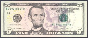 5 dollars 2013 Etats-Unis billet neuf collection