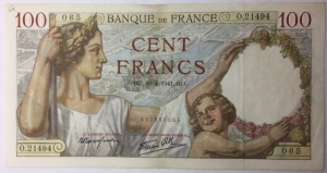 billet 100 francs Sully 30-4-1941