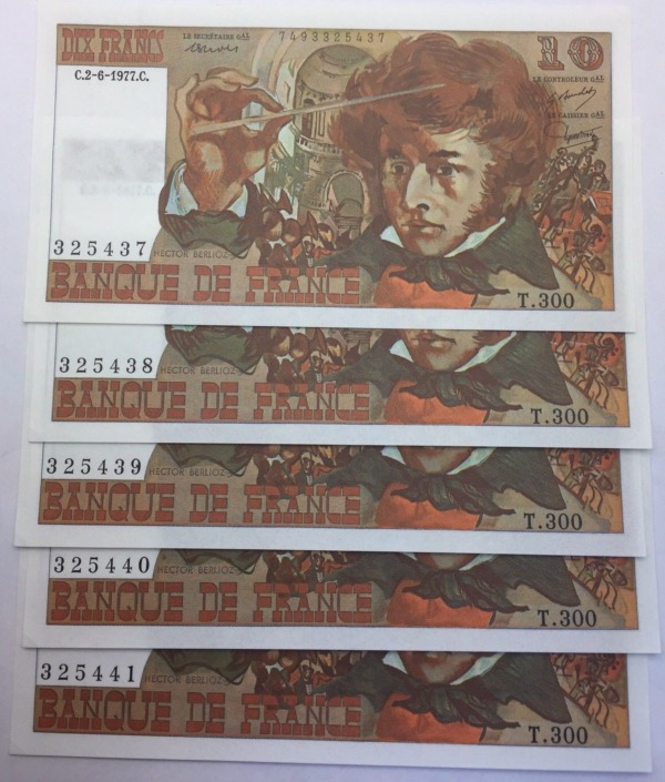 France suite de 5 billets 10 francs Berlioz 1977