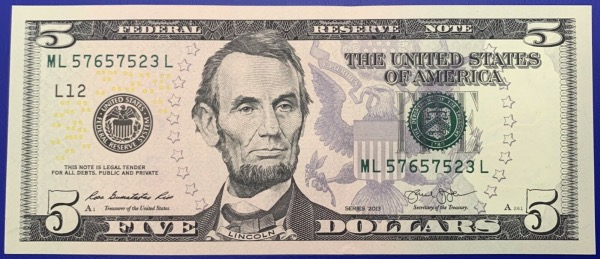 Etats-Unis, Billet 5 dollars San Francisco 2013, Lincoln, Neuf