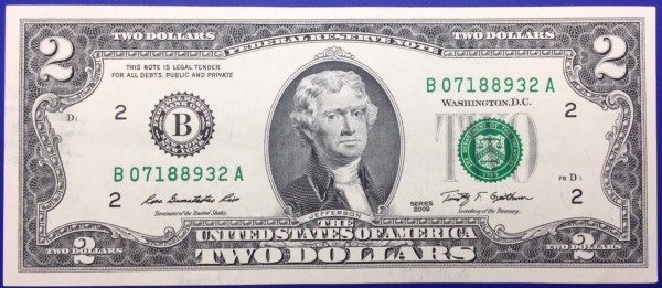 Etats-Unis, Billet 2 dollars 2009 New York