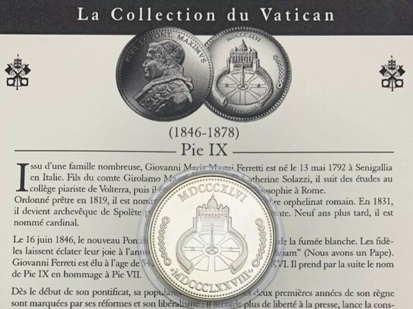 Médaille Pie IX, Collection du Vatican
