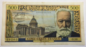 Billet 500 Francs Victor Hugo 1954