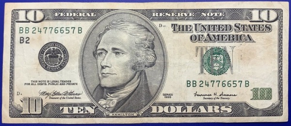 Etats-Unis, Billet 10 dollars New-York 1999, Hamilton