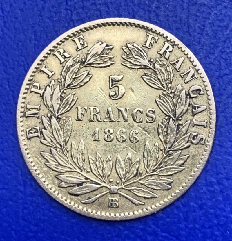 5 Francs or Napoléon III 1866 BB