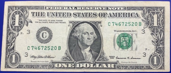 Etats-Unis, Billet 1 dollar Philadelphie 1999, Washington