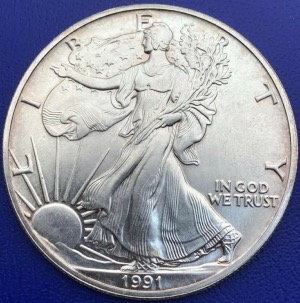 États-Unis USA One Dollar Silver Eagle 31,10g 1991