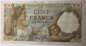 billet 100 francs Sully 6-2-1941