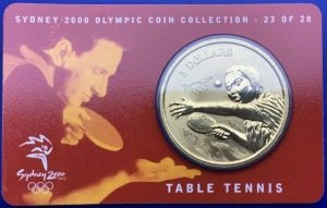 Australie, 5 Dollars Elisabeth 2, Sydney 2000, Table Tennis