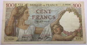 Billet 100 francs Sully 30-1-1941
