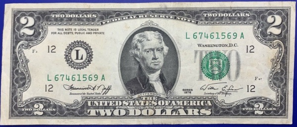Etats-Unis, Billet 2 dollars San Francisco 1976, Jefferson