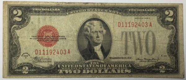 Billet 2 Dollars 1928D rouge Etats-unis