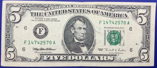 Etats-Unis, Billet 5 dollars Atlanta 1995, Lincoln