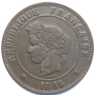 Ceres 5 centimes 1885 A