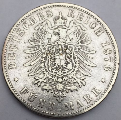 5 Mark 1876 F argent